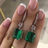 Green Emerald Cut Drops Earrings