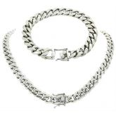 "8mm/10mm/12mm/14mm 8"" Stainless Steel Cuban Bracelet in White Gold"