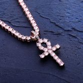 """Pink Iced Ankh Pendant with 4mm 18"""" Tennis Chain Set in Rose Gold"""