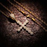 Iced Round Cut Diamonds Cross Pendant in Gold