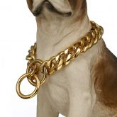19mm Stainless Steel Dog Collar Cuban Curb Chain in Gold