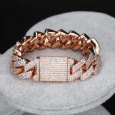 Iced 20mm Cuban Bracelet in Rose Gold with Box Clasp