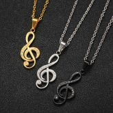 Stainless Steel Musical Note Pendant