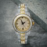 18K Gold Two Tone Iced Watch