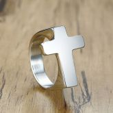 Cross Stainless Steel Ring in Silver