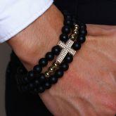 Men's Cross 3 Laps Agate Beads Bracelet