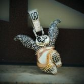 Iced Panda Hero Pendant in White Gold