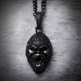 Iced Angry Roaring Gorilla Head in Black Gold