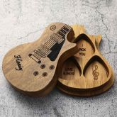 3Pcs Personalized Wooden Guitar Picks with Case