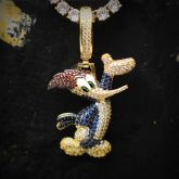 Iced Woodpecker Pendant in Gold