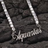 12 Constellation Letters Necklace in White Gold