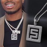 Iced Quavo Huncho Pendant in White Gold