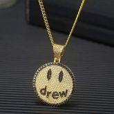 Iced Drew Pendant in Gold