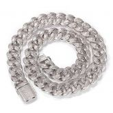 Unique 15mm Drip-shaped Stones Cuban Link Chain in White Gold