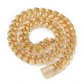 Unique 15mm Drip-shaped Stones Cuban Link Chain in Gold