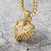 Broken Skeleton Heart Pendant in Gold
