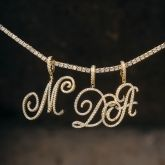 Cursive Style A to Z Initial Letters Pendant in Gold