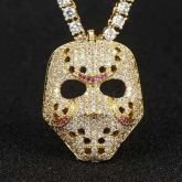 Iced Scary False Face Pendant in Gold