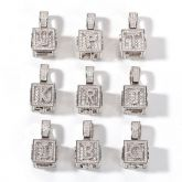 Iced Cube A to Z Letter Pendant in White Gold