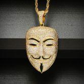 Iced Smile Face Killer False Face Pendant in Gold