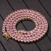 4mm Pink Tennis Chain in Gold