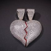 2pc Broken Heart Pendant in White Gold