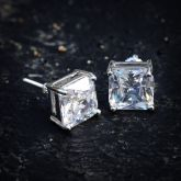 Radiant Cut Stud Earring in White Gold