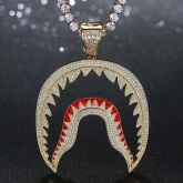 Iced Shark Pendant in Gold