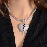 Women's Drip Broken Heart Necklace - Only Pendant