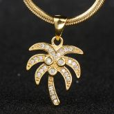 Iced Palm Tree Pendant in Gold