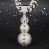 Iced Snowman Pendant in White Gold