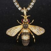 Iced Bee Pendant in Gold