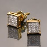 Square Diamonds Paved Stud Earrings-6*6mm