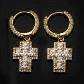 Iced Princess Cut Cross Dangle Earring in Gold