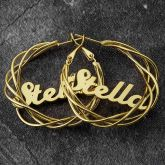 "Personalized 1.6"" Open Twisted Name Hoop Earrings"