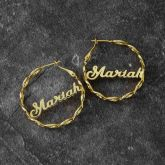 "Personalized 1.6"" Infinity Twisted Name Hoop Earrings"