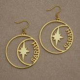 Personalized Star and Moon Circle Name Hoop Earrings