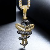 Iced Black Mamba Mentality Pendant in Gold