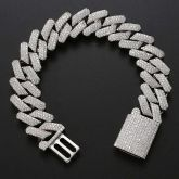 Iced 20mm Cuban Bracelet in White Gold with Box Clasp