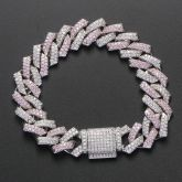 Pink and White Stones 14mm Cuban Prong Bracelet in White Gold