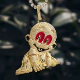 Iced Baby Pendant in Gold