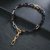 Titanium Steel Multicolor Rectangle Link Chain