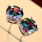 Multicolor Round Stone Stud Earrings