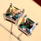 Multicolor Square Stone Stud Earrings