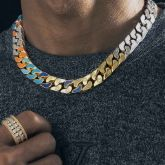 13mm Multi-color Logo Half-Iced Cuban Link Chain