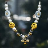 Pearl Sunflower Smile Face Bee Necklace