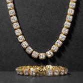 10mm Iced Baguette Tennis Bracelet in Gold