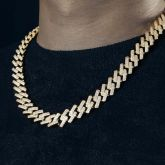 Iced 14mm Miami Cuban Chain with Box Clasp in Gold