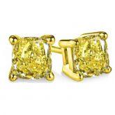 Fancy Yellow Cushion Cut Stud Earrings