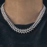 Iced 14mm Thorn Miami Cuban Chain with Big Box Clasp in White Gold